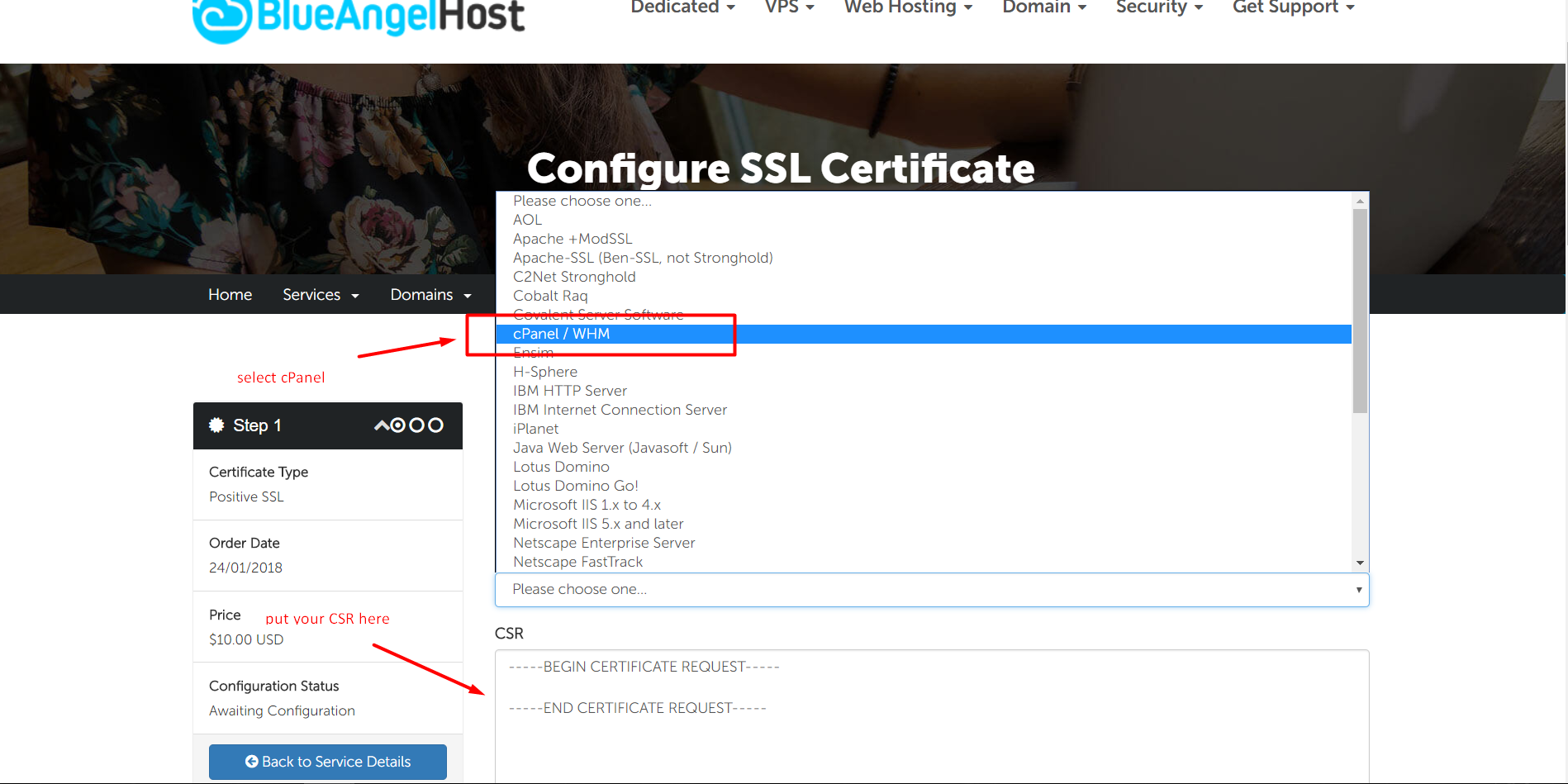 How To Configure Ssl Certificate Knowledgebase Blueangelhost